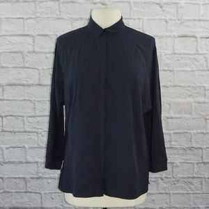 Akris Silk Button Down Dolmen Sleeve Blouse Top